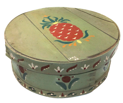 Vintage Round Wood Lidded Cheese Box w/ Amish Style Folk Art Tole Painted Graphi