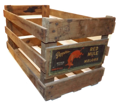 Vintage Red Mule Melons Wooden Peppers Advertising Crate