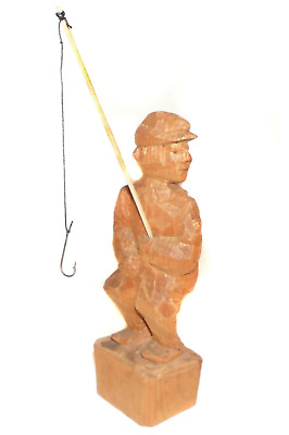 Vintage Handcarved Man with Fishing Pole Wood Carving Figure