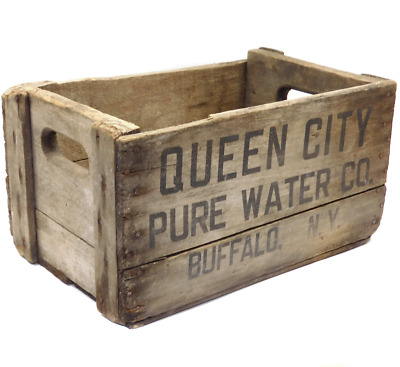 Weathered Antique Primitive Wood Queen City Pure Water Co. Bottle Crate Buffalo