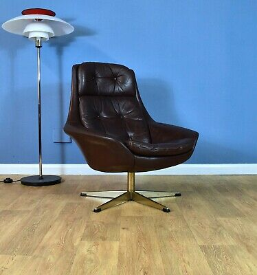 Mid Century Retro Danish Bramin 'Pirouette' Brown Leather Swivel Lounge Armchair