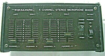 Realistic 4 Channel Stereo Microphone Mixer 32-1105 Tested Works