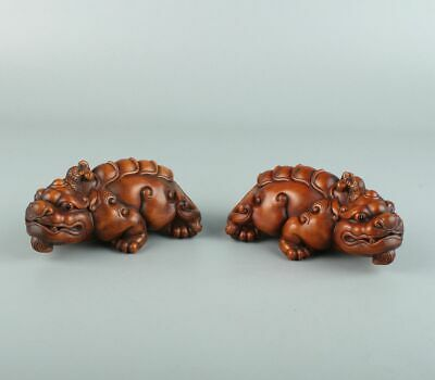 Chinese Exquisite Hand carved Beast carving Boxwood statue 2pcs