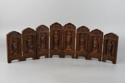 Chinese Exquisite Handmade Guanyin Carving Boxwood screen