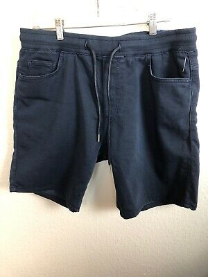 Zara Man NWT Drawstring Soft Stretch Soft Denim Short Size XL Dark Blue  Nwt