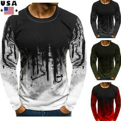 Mens Slim Fit O Neck Long Sleeve Muscle Tee Shirts Casual T-shirt Tops Blouse US