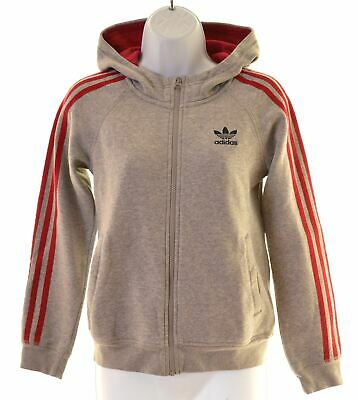 ADIDAS Girls Hoodie Sweater 11-12 Years Grey Cotton  MK29
