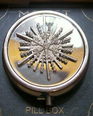 Monet Silver Tone Metal Pill Box  With Crystals NEW