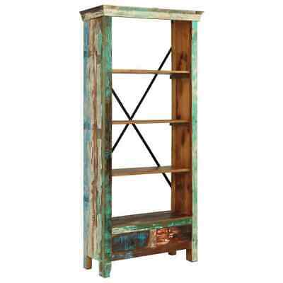 Industrial Tall Bookcase Large Free Standing Book Shelf Vintage Solid Wood Metal