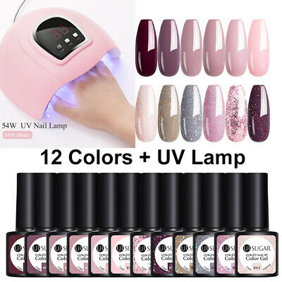 12Pcs UR SUGAR Soak Off Gel Polish Kit UV LED Nail Lamp Starter Manicure Kit