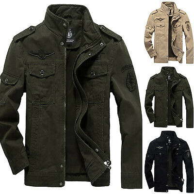 Mens Spring Autumn Outwear Military Jackets Casual Cotton Collar Jacket Coat Top