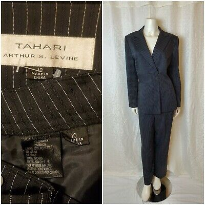 TAHARI By ASL Women 2 PC Black pinstripe snap on Elegant Pant Suit Size 10