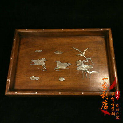 Exquisite Chinese old antique hand carved Rosewood Mandarin Duck Tray