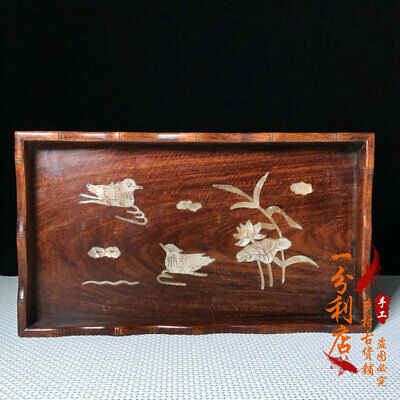Exquisite Chinese old antique hand carved Rosewood Mandarin Duck Fruit tray