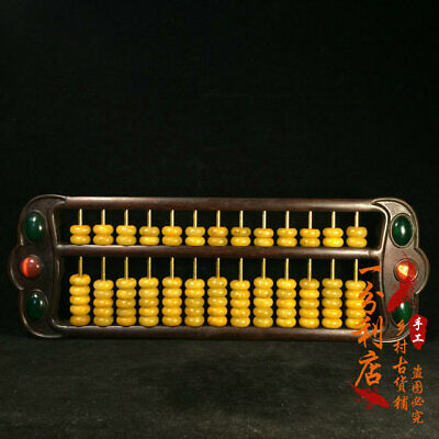 Exquisite Chinese old antique Gem inlay hand carved Rosewood Jade Bead Abacus