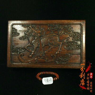 Exquisite Chinese old antique hand carved Rosewood kylin Jewelry box