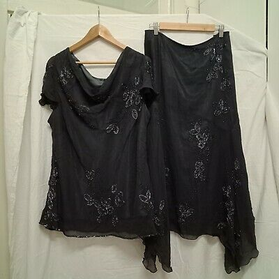 EVE HUNTER Silk Skirt and Top Set Grey Beaded Embroidered Size 20