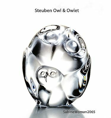 NEW in BOX STEUBEN glass OWL & OWLET crystal ornament paperweight heart art MOM