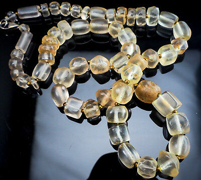 Ancient Bactrian Crystal Faceted Spindle Square Oval Tube Beads Necklace