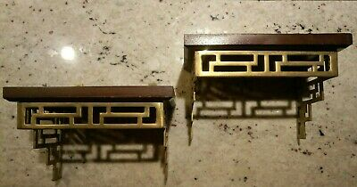 2 Vintage MCM Asian Brass Wood Wall Mount Shelf Chinoiserie Mid century modern