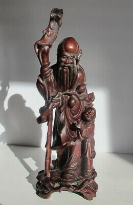 """Antique Chinese Qing Dynasty Carved Wood Statue Immortal & Child Statue 11.75"""""""