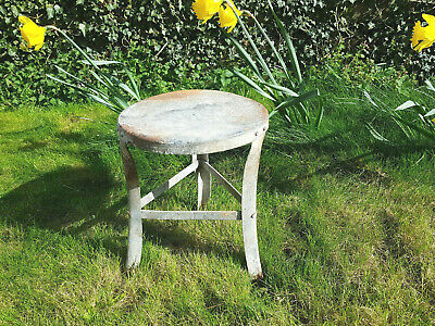 Vintage Antique Galvanised Steel Milking Stool Farmhouse Barn