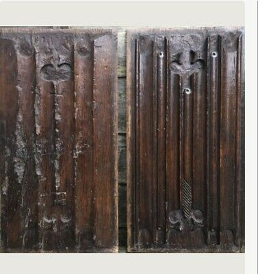 A Pair Of 16th Century Tudor Linenfold Panels One With Cruciforms