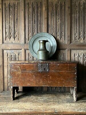 A 17th Century Oak Six Plank Chest Of Small Size.
