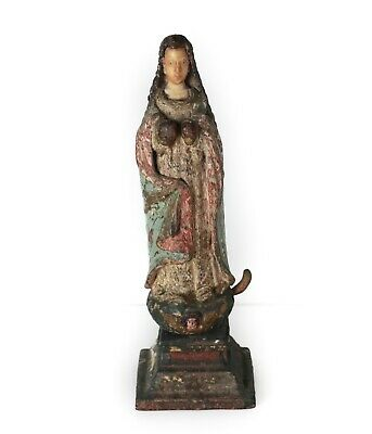 17-18th Century Santo Figure, carved wood body polychrome