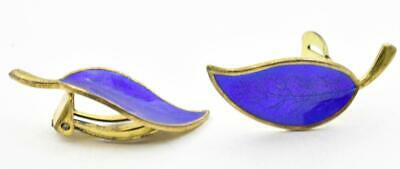 Vintage Sterling Silver MEKA Denmark Bright Blue enamel leaf Clip On earrings