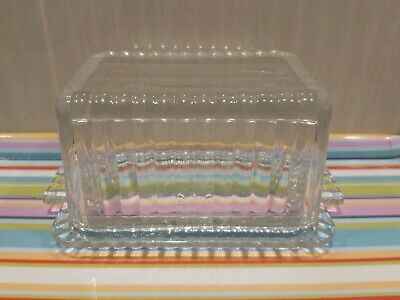 Vintage Fire King Butter Dish 50s Large Clear Glass Pyrex VGC