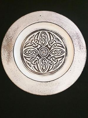 Irish Celtic Plate Wall Plaque Hand Carved Wood Monks Knotwork Cathedral Abbey