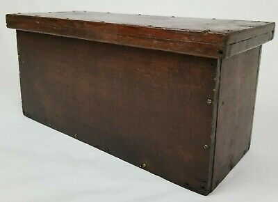 Vintage Primitive Wooden Candle Storage Document Box With Lid Hand Made Antique