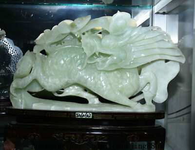 "15.6"" China Natural Xiu Jade Carving Feng Shui Kylin Qilin Ruyi Wealth Statue"