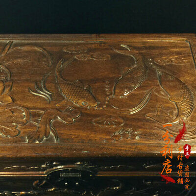 Exquisite Chinese old antique handcarved Rosewood  fish lotus Jewelry box
