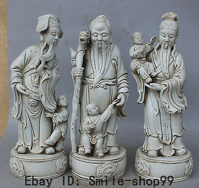 "15""Chinese Dehua Porcelain Dragon Beast Fu Lu Shou 3 Mammon immortal God Set Kid"