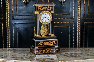 Exclusive Biedermeier Pendule Fireplace Clock Watch with Inlaid
