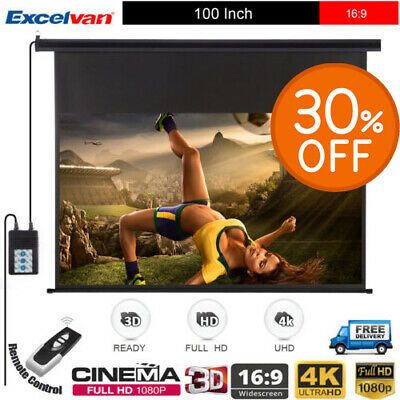 """16:9 Wall Ceiling HD Projector 100"""" Screen Electric Motorized Home Theater 3D 4K"""