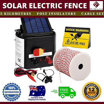 New 3km Solar Power Electric Fence Charger Kit Farm Fencing Wire Insulator Sign