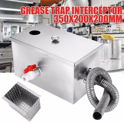 350 × 200 × 200mm Kitchen Thickened Steel Wastewater Grease Trap Interceptor US
