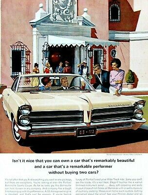 1961 Pontiac Bonneville Sports Coupe-Fitz /& Van Art Original Print Ad-8.5 x 11/""