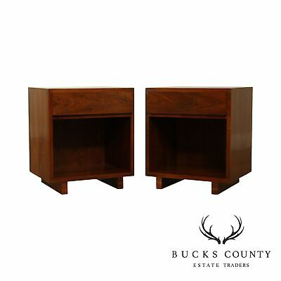 Widdicomb Mid Century Modern Pair Walnut One Drawer Nightstands