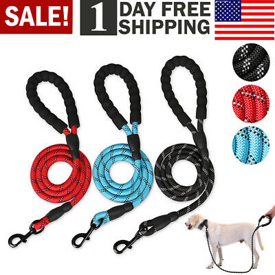 Dog Training Leash Heavy Duty Braided Nylon Rope with Handle for Large Dogs