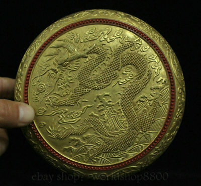 "6"" Qianlong Marked Old Chinese Qing Porcelain Gilt Dynasty Dragon Jewelry box"