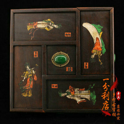 Old Chinese antique Gem inlay carved huanghuali wood four Beauty Jewelry box