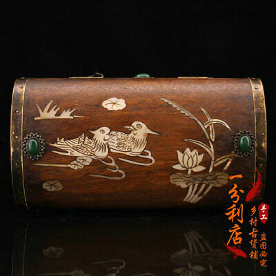 OLD China antique Gem inlay carved huanghuali wood Mandarin Duck Storage box