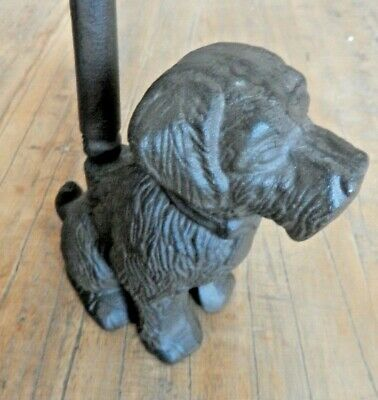 Cast iron sitting dog door stop with handle Rustic aged style Back saver