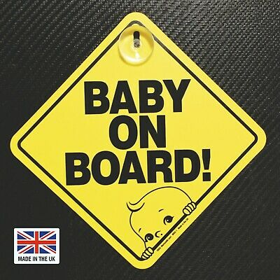 Baby on Board Car Safety Sign Sticker Suction cup. Made in the UK. 2020. MSO-1.