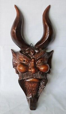 Vintage Wooden Sculpture Devil head satanic wall hanged figurine statue pagan