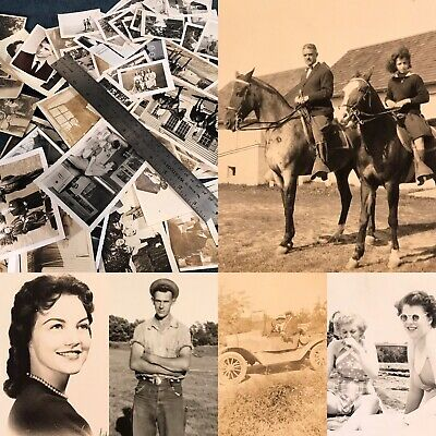 #23 100 + Old Photos Lot BW Vintage BLACK & WHITE Photographs Snapshots antique
